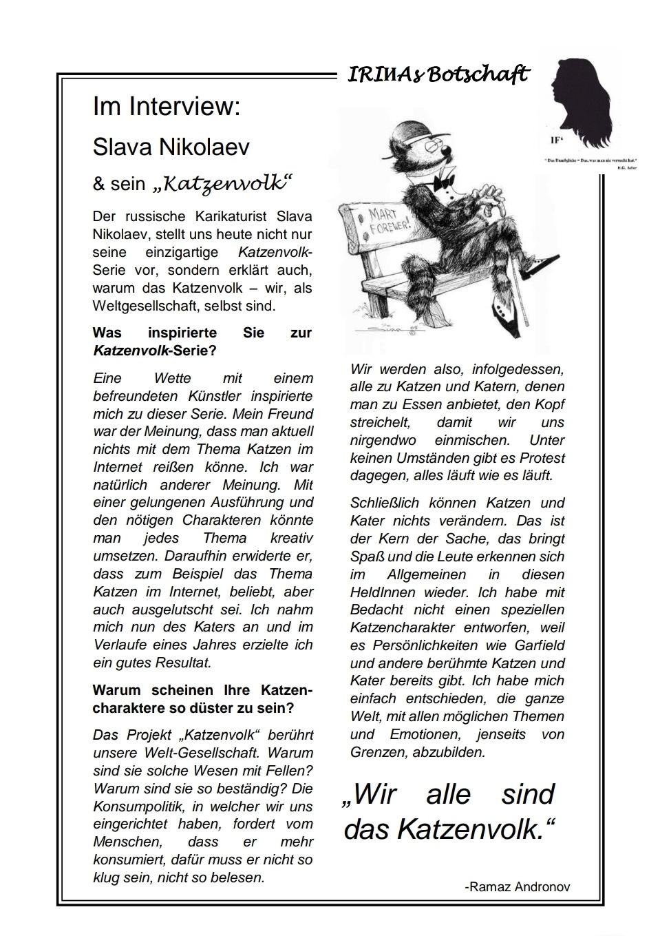 Zeitschrift «IRIИAs Botschaft», Nr. 2 vom 06.04.2019